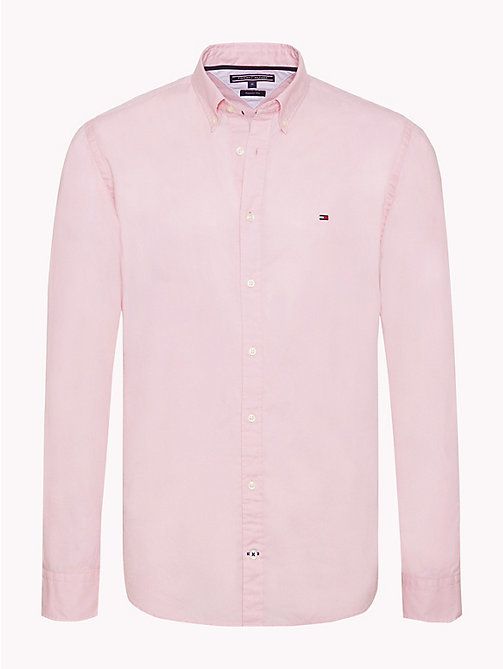 TOMMY HILFIGER Cotton Poplin Shirt - PINK - TOMMY HILFIGER NEW IN - main image