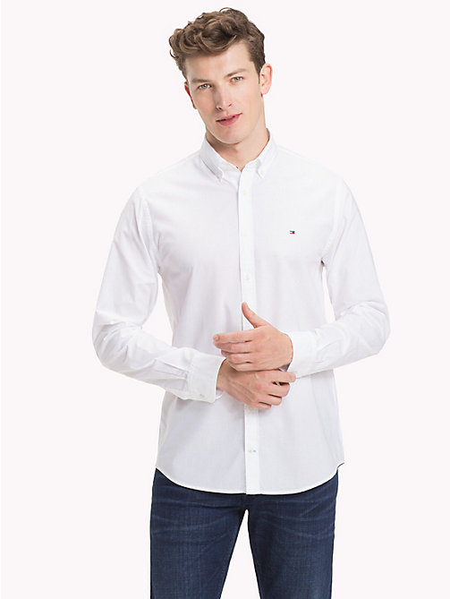 TOMMY HILFIGER Cotton Poplin Shirt - BRIGHT WHITE - TOMMY HILFIGER Casual Shirts - detail image 1
