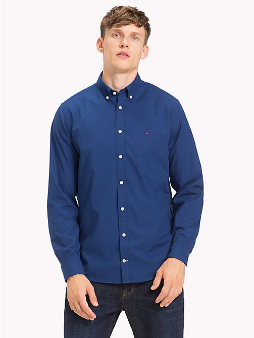 TOMMY HILFIGER Cotton Poplin Shirt - ESTATE BLUE - TOMMY HILFIGER Casual Shirts - detail image 1