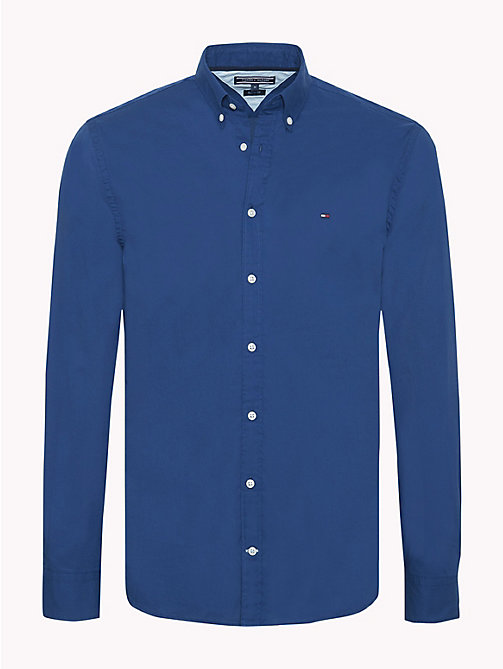 TOMMY HILFIGER Cotton Poplin Shirt - ESTATE BLUE - TOMMY HILFIGER Casual Shirts - main image