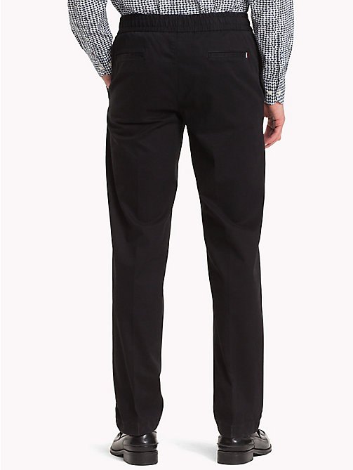 TOMMY HILFIGER Stretch Brushed Cotton Trousers - JET BLACK - TOMMY HILFIGER Sweatpants - detail image 1