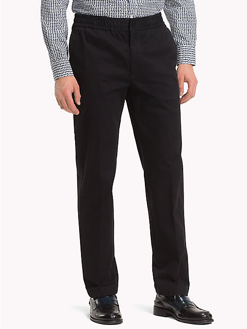 TOMMY HILFIGER Stretch Brushed Cotton Trousers - JET BLACK - TOMMY HILFIGER Sweatpants - main image