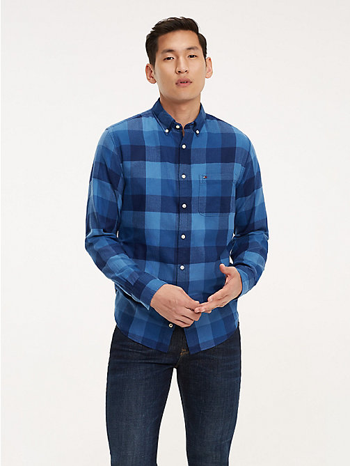 TOMMY HILFIGER Checked Cotton Shirt - MEDIEVAL BLUE / MULTI - TOMMY HILFIGER NEW IN - detail image 1