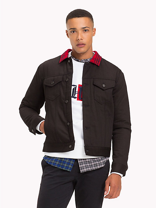 TOMMY HILFIGER Lewis Hamilton Check Collar Denim Jacket - BLACK / CHECK - TOMMY HILFIGER TOMMYXLEWIS - main image