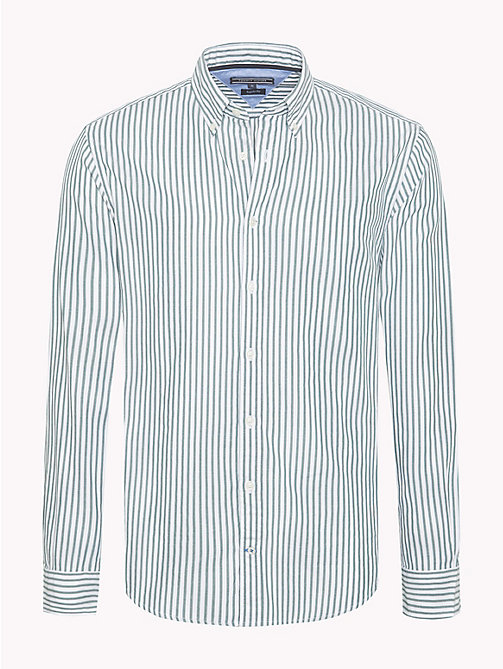 TOMMY HILFIGER Spread Collar Stripe Shirt - RAIN FOREST / BRIGHT WHITE - TOMMY HILFIGER Casual Shirts - main image