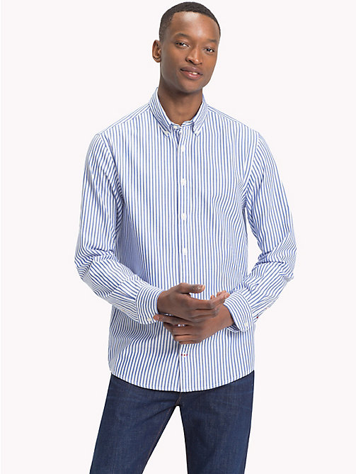 TOMMY HILFIGER Spread Collar Stripe Shirt - BLUE LOLITE / BRIGHT WHITE - TOMMY HILFIGER Casual Shirts - detail image 1
