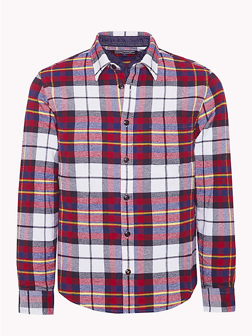 TOMMY HILFIGER Padded Plaid Check Overshirt - RHUBARB / MEDIEVAL BLUE / MULTI - TOMMY HILFIGER NEW IN - main image