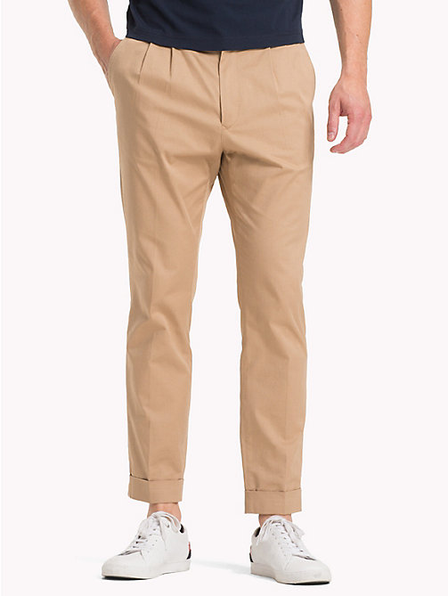 TOMMY HILFIGER Cropped Tapered Twill Trousers - BATIQUE KHAKI - TOMMY HILFIGER NEW IN - main image