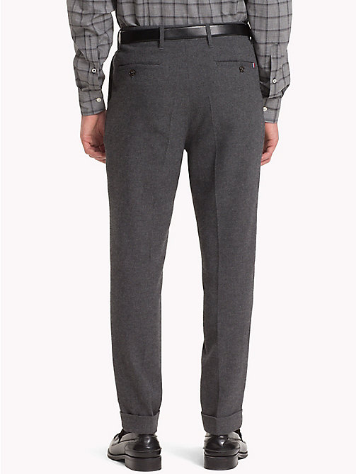 TOMMY HILFIGER Wool Blend Cropped Fit Trousers - CHARCOAL HTR - TOMMY HILFIGER NEW IN - detail image 1