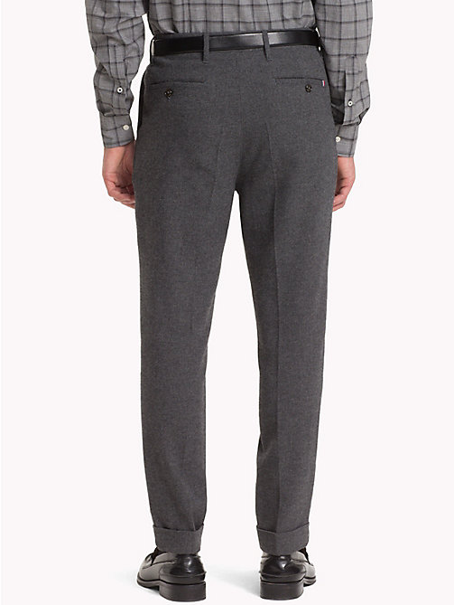 TOMMY HILFIGER Wool Blend Cropped Fit Trousers - CHARCOAL HTR - TOMMY HILFIGER Trousers & Shorts - detail image 1
