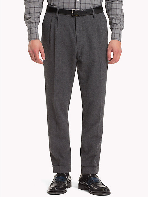 TOMMY HILFIGER Wool Blend Cropped Fit Trousers - CHARCOAL HTR - TOMMY HILFIGER NEW IN - main image