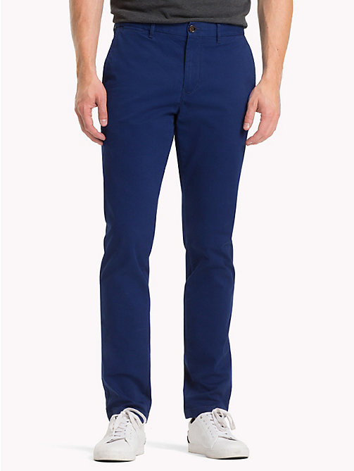 TOMMY HILFIGER Stretch Cotton Straight Fit Chinos - BLUE DEPTHS 19-3940 - TOMMY HILFIGER Sustainable Evolution - main image