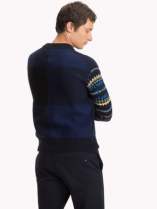 TOMMY HILFIGER Fair Isle Check Jumper - SKY CAPTAIN - TOMMY HILFIGER Winter Warmers - detail image 1