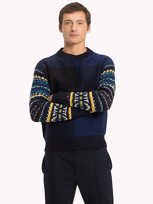 TOMMY HILFIGER Fair Isle Check Jumper - SKY CAPTAIN - TOMMY HILFIGER Winter Warmers - main image