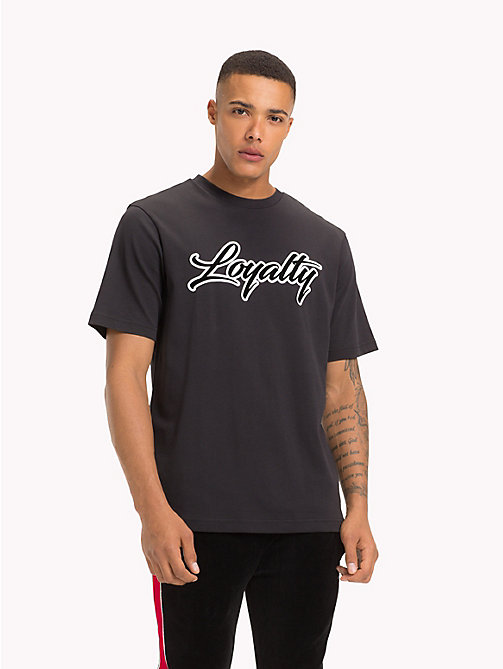 TOMMY HILFIGER Lewis Hamilton Loyalty Slogan T-Shirt - JET BLACK - TOMMY HILFIGER Clothing - main image