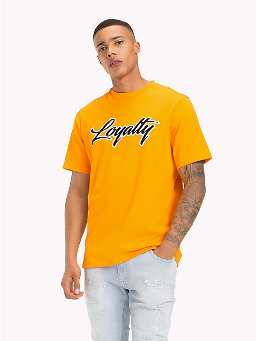TOMMY HILFIGER Lewis Hamilton Loyalty Slogan T-Shirt - ORANGE POPSICLE - TOMMY HILFIGER TOMMY NOW MEN - main image