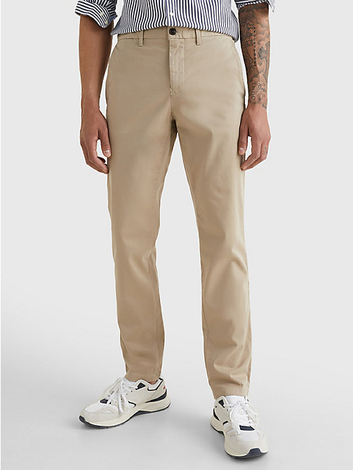TOMMY HILFIGER Stretch Cotton Chinos - BATIQUE KHAKI - TOMMY HILFIGER Chinos - main image