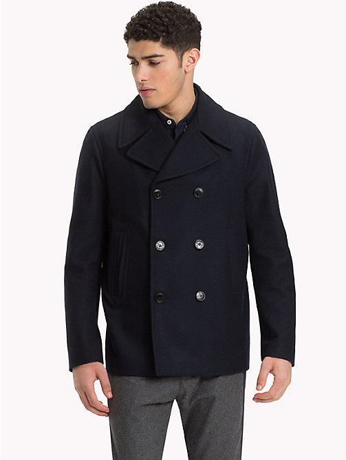 TOMMY HILFIGER Short Wool Pea Coat - SKY CAPTAIN - TOMMY HILFIGER Coats - main image