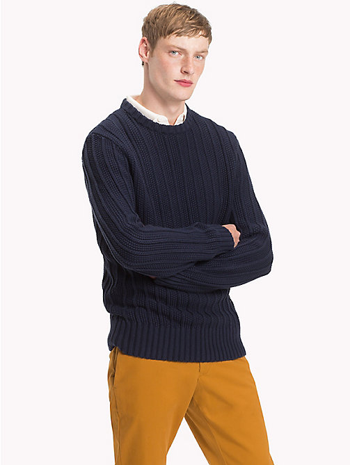 TOMMY HILFIGER All-Over Vertical Knit Jumper - SKY CAPTAIN - TOMMY HILFIGER NEW IN - main image
