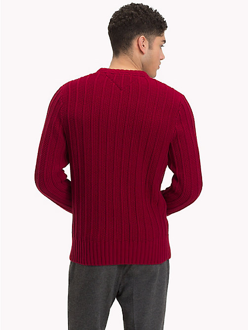 TOMMY HILFIGER All-Over Vertical Knit Jumper - RHUBARB - TOMMY HILFIGER NEW IN - detail image 1