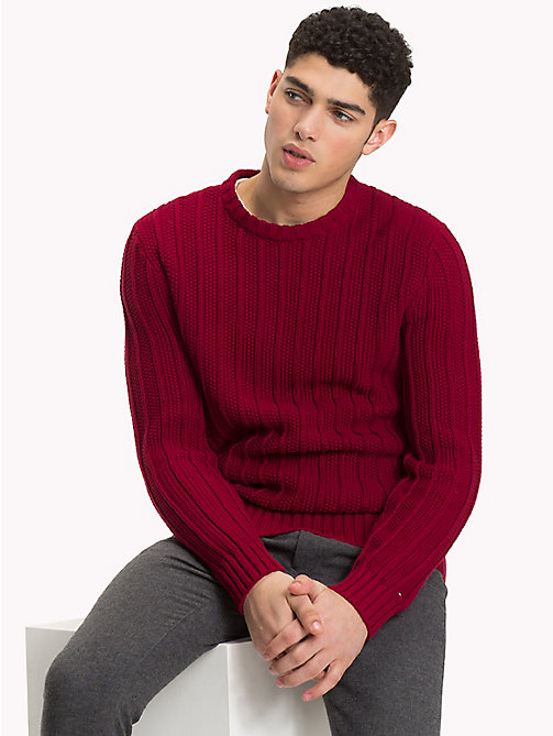TOMMY HILFIGER All-Over Vertical Knit Jumper - RHUBARB - TOMMY HILFIGER NEW IN - main image