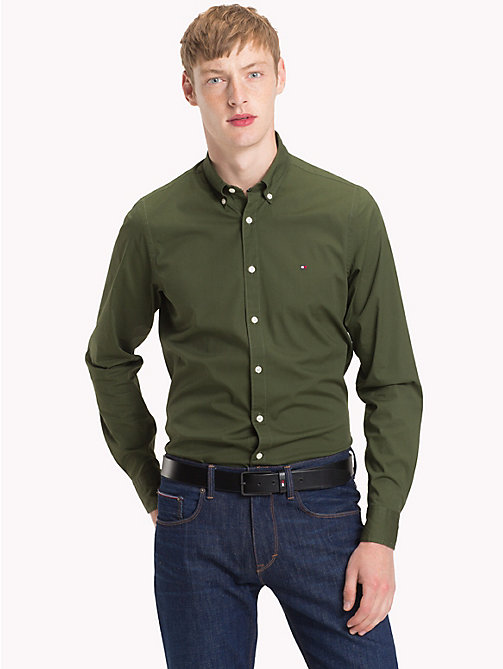 TOMMY HILFIGER Slim Fit Poplin Shirt - RIFLE GREEN - TOMMY HILFIGER Casual Shirts - detail image 1