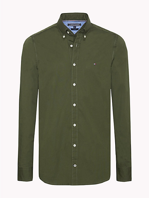 TOMMY HILFIGER Slim Fit Poplin Shirt - RIFLE GREEN - TOMMY HILFIGER Casual Shirts - main image