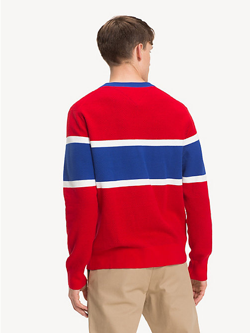 TOMMY HILFIGER Colour-Blocked Crew Neck Jumper - GOJI BERRY - TOMMY HILFIGER Winter Warmers - detail image 1