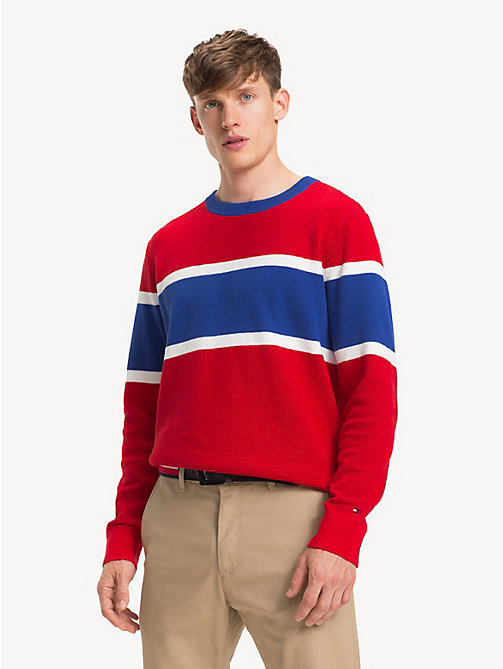 TOMMY HILFIGER Colour-Blocked Crew Neck Jumper - GOJI BERRY - TOMMY HILFIGER Winter Warmers - main image