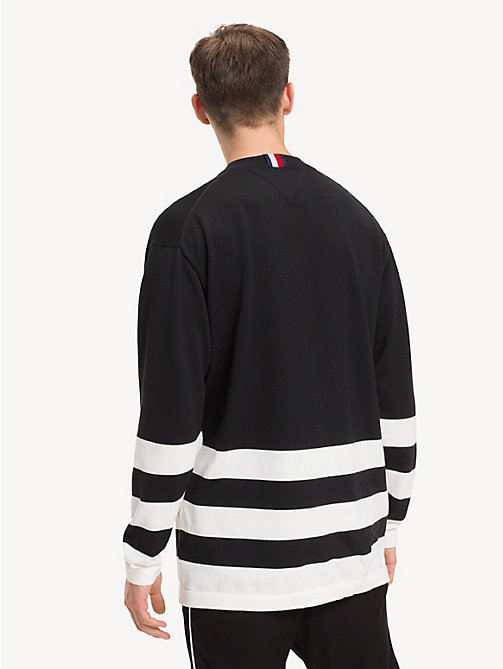 TOMMY HILFIGER Oversized Crew Neck Hockey Sweatshirt - JET BLACK - TOMMY HILFIGER NEW IN - detail image 1