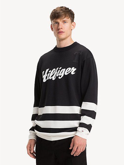 TOMMY HILFIGER Oversized Crew Neck Hockey Sweatshirt - JET BLACK - TOMMY HILFIGER Winter Warmers - main image