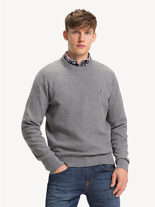 TOMMY HILFIGER Crew Neck Sweater - SILVER FOG HTR - TOMMY HILFIGER NEW IN - main image