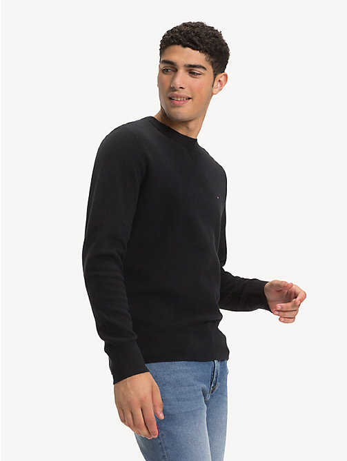 TOMMY HILFIGER Crew Neck Sweater - JET BLACK - TOMMY HILFIGER Winter Warmers - main image