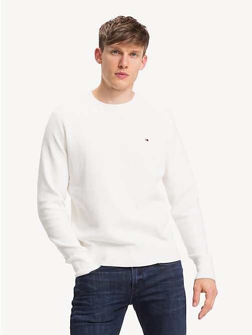 TOMMY HILFIGER Crew Neck Sweater - SNOW WHITE - TOMMY HILFIGER Winter Warmers - main image