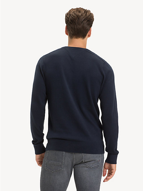 TOMMY HILFIGER Cotton Crew Neck Jumper - SKY CAPTAIN - TOMMY HILFIGER NEW IN - detail image 1