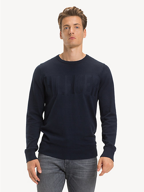 TOMMY HILFIGER Cotton Crew Neck Jumper - SKY CAPTAIN - TOMMY HILFIGER NEW IN - main image