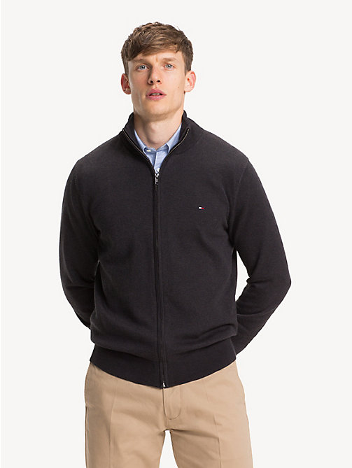 TOMMY HILFIGER Silk Blend Zip-Thru Sweater - JET BLACK HEATHER - TOMMY HILFIGER Cardigans - main image