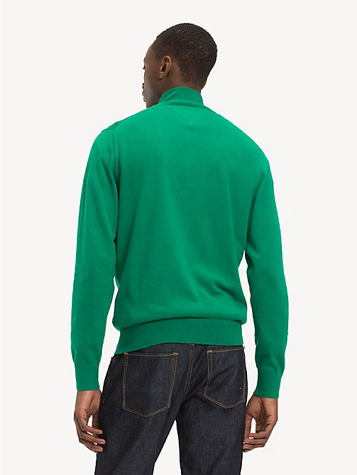 TOMMY HILFIGER Silk Blend Zip-Thru Sweater - ULTRAMARINE GREEN HTR - TOMMY HILFIGER Cardigans - detail image 1
