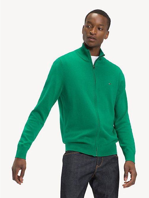 TOMMY HILFIGER Silk Blend Zip-Thru Sweater - ULTRAMARINE GREEN HTR - TOMMY HILFIGER Cardigans - main image