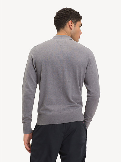 TOMMY HILFIGER Wool Blend Knitted Polo - SILVER FOG HTR - TOMMY HILFIGER Polo Shirts - detail image 1