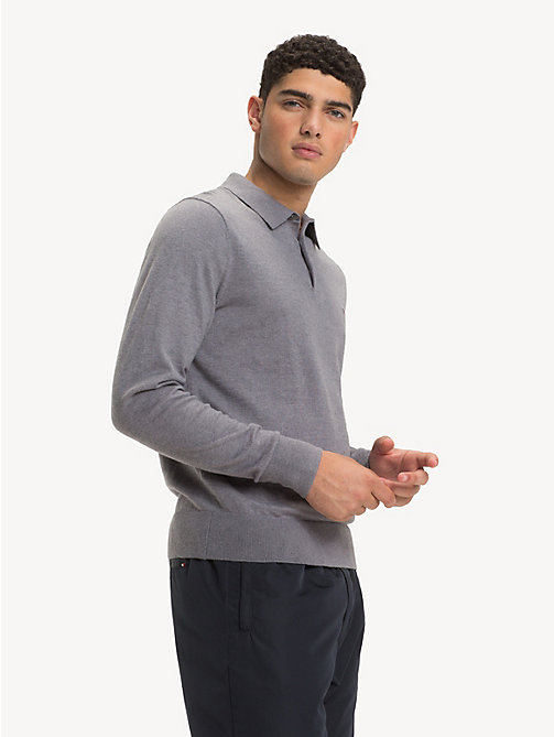TOMMY HILFIGER Wool Blend Knitted Polo - SILVER FOG HTR - TOMMY HILFIGER Polo Shirts - main image