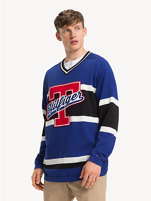 TOMMY HILFIGER Oversized V-Neck Hockey Jersey - SURF THE WEB - TOMMY HILFIGER NEW IN - main image