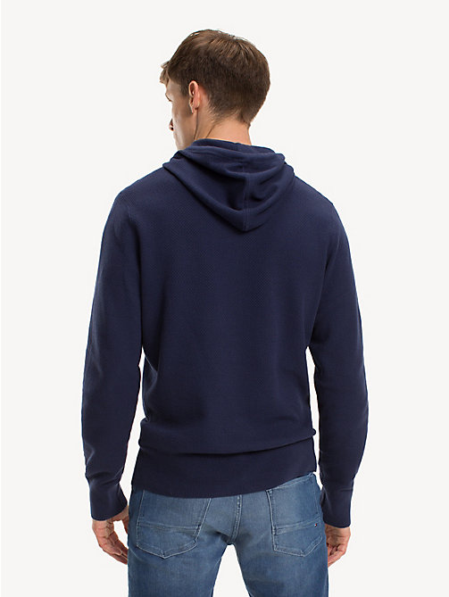 TOMMY HILFIGER Structured Pure Cotton Hoody - BLACK IRIS - TOMMY HILFIGER Winter Warmers - detail image 1