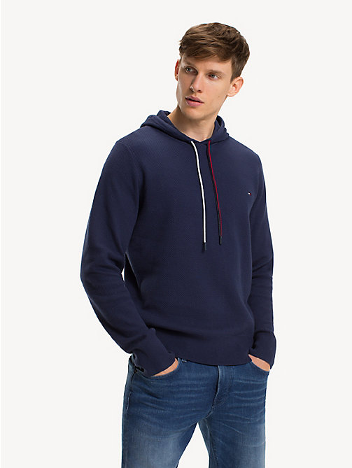 TOMMY HILFIGER Structured Pure Cotton Hoody - BLACK IRIS - TOMMY HILFIGER Winter Warmers - main image
