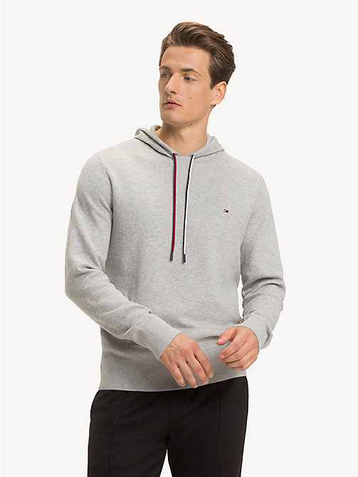 TOMMY HILFIGER Structured Pure Cotton Hoody - CLOUD HTR - TOMMY HILFIGER Hoodies - main image