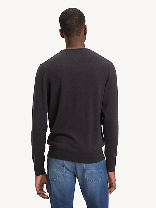 TOMMY HILFIGER Silk Blend Crew Neck Jumper - JET BLACK HEATHER - TOMMY HILFIGER Jumpers - detail image 1