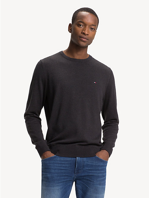 TOMMY HILFIGER Silk Blend Crew Neck Jumper - JET BLACK HEATHER - TOMMY HILFIGER Jumpers - main image