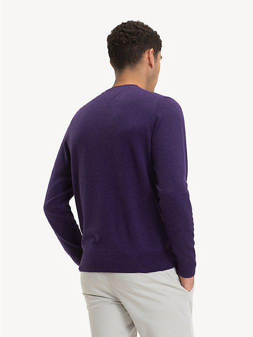 TOMMY HILFIGER Silk Blend Crew Neck Jumper - PARACHUTE PURPLE HEATHER - TOMMY HILFIGER Jumpers - detail image 1