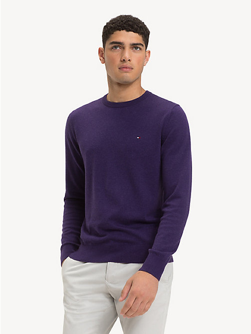 TOMMY HILFIGER Silk Blend Crew Neck Jumper - PARACHUTE PURPLE HEATHER - TOMMY HILFIGER NEW IN - main image