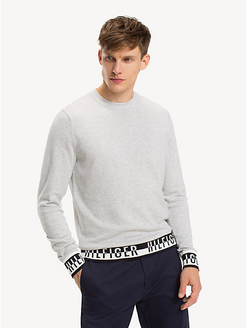 TOMMY HILFIGER Logo Detail Cotton Blend Jumper - HARBOR MIST HEATHER - TOMMY HILFIGER Jumpers - main image